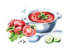 Gazpacho tomato refreshing soup. Watercolor hand drawn illustration, isolated on white background. Gazpacho tomato refreshing soup. Watercolor hand drawn Royalty Free Stock Photos