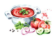 Gazpacho tomato refreshing soup. Watercolor hand drawn illustration  isolated on white background.  Stock Photos