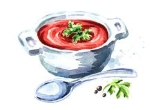 Gazpacho tomato soup. Watercolor hand drawn illustration, isolated on white background. Gazpacho tomato soup. Watercolor hand drawn illustration, isolated on Stock Images