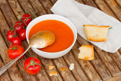 Gazpacho with tomatoes Stock Images