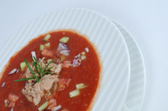 Gazpacho with tuna. Spanish chilled soup: gazpacho with tuna royalty free stock images