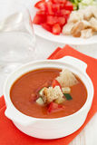 Gazpacho in white bowl Royalty Free Stock Images
