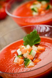 Gazpacho on wooden table Stock Images