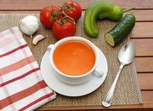 Gazpacho y sus ingredientes imagenes de archivo
