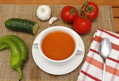 Gazpacho y sus ingredientes foto de archivo libre de regalías