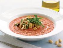 Gazpacho z croutons arugula i piec na grillu migdałami Zdjęcia Stock