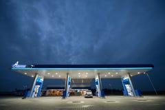 Gazprom bensinstation - Rumänien Royaltyfri Bild