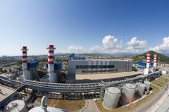 Gazprom company logo on the thermal power plant. Royalty Free Stock Photo