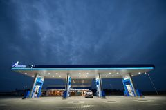 Gazprom gas station - Romania. Gazprom first gas station was opened by Serbian oil company NIS, controlled by Russian group Gazprom Neft on Bucharest-Pitesti Royalty Free Stock Image