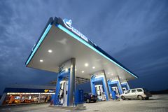 Gazprom gas station - Romania Royalty Free Stock Image