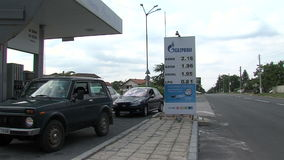 Gazprom gas station in the suburbs of Varna, Bulgaria. Varna - the sea capital of Bulgaria, the third largest city in the country. The city was founded by the stock video