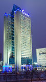 Gazprom headquarters office in Moscow. Night shot Stock Image