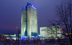 Gazprom headquarters office in Moscow. Night shot Stock Photography