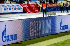 Gazprom sponsor banner on a UEFA Champions League match. Belgrade, Serbia - December 11, 2018; Gazprom sponsor banner on a UEFA Champions League match Red Star royalty free stock images