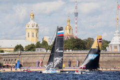 Gazprom Team and SAP Extreme Sailing Team catamarans on Extreme Sailing Series Act 5 catamarans race Royalty Free Stock Photography
