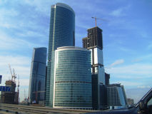 Gazprom-Tower in Moskow. Here you see the Gazprom Tower in Moskow, Russia. And the other Constructions. This Photo means the New Richness and Economic Growth in royalty free stock photo