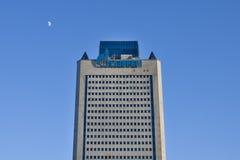Gazprom-Turmhauptsitz ist auf Hintergrund des blauen Himmels moskau Lizenzfreies Stockbild