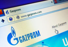 Gazprom website. GDANSK, POLAND - 24 JULY 2014. Gazprom.com homepage on the screen. Gazprom is the largest extractor of natural gas in the world Stock Photo
