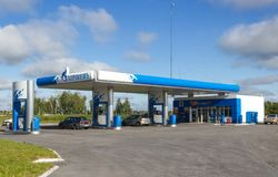 Gazpromneft加油站 免版税库存照片