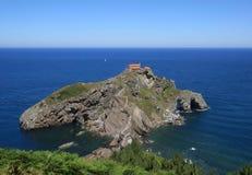 Gaztelugatxe in de Baai van Biskaje, Baskisch Land, Spanje stock foto