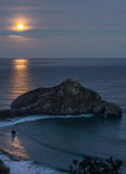 Gaztelugatxe hermitage under the light of the moon at night Royalty Free Stock Photography