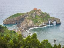 Panoramic view of San Juan de Gaztelugatxe, Basque Country, Spain. Gaztelugatxe is an islet on the coast of Biscay belonging to the municipality of Bermeo stock photos