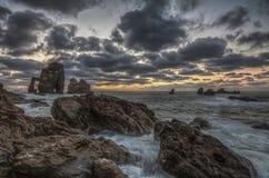 Gaztelugatxe sunset. Sunset phot  maritime landscape from Gaztelugatxe Spain Royalty Free Stock Photography