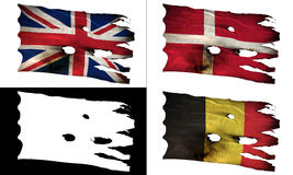 GB, DK, BE, perforated, burned, grunge fluttering flag alpha. GB, DK, BE, bullet perforated, burned, grunge standard flag waving on a wind with alpha luma matte Royalty Free Stock Images