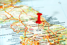 GB England    map pin. Close up of  United Kingdom  map with red pin - Travel concept Royalty Free Stock Photography