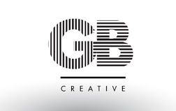 GB G B Black and White Lines Letter Logo Design. Royalty Free Stock Photos