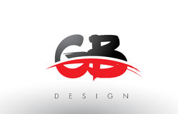 GB G B Brush Logo Letters with Red and Black Swoosh Brush Front Royalty Free Stock Image