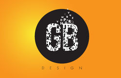 GB G B Logo Made of Small Letters with Black Circle and Yellow B Stock Photography