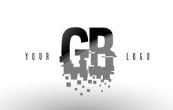 GB G B Pixel Letter Logo with Digital Shattered Black Squares Royalty Free Stock Image