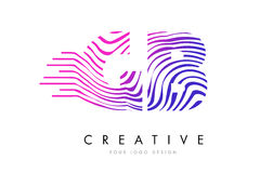 GB G B Zebra Lines Letter Logo Design with Magenta Colors Royalty Free Stock Photography