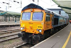 GB Railfreight class 66 diesel locomotive, Carlisle Royalty Free Stock Image