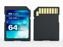 64 GB SD card isolated on white background. 3D illustration.  Royalty Free Stock Photography