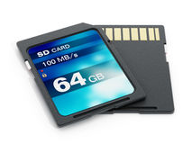 64 GB SD card isolated on white background. 3D illustration.  Stock Photo
