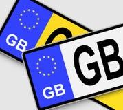 GB-Vergunningsplaten Stock Foto's
