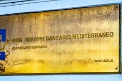 GBM - Italian Gruppo Bancario Mediterraneo. Rome, Italy - February 15, 2019: Emblem of GBM - Gruppo Bancario Mediterraneo, Italian regional commercial bank with stock photography