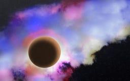 Głęboki kosmos z planetą, gwiazdami i mgławicą, Fotografia Royalty Free