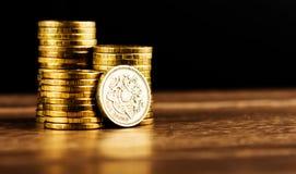 磅GBP硬币 库存图片