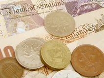 GBP banknotes and coins Stock Photo