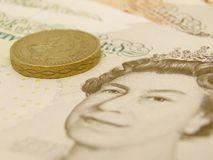 GBP banknotes and coins Stock Photography