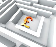 Gbp Currency In Maze Shows Finding Pounds Royalty Free Stock Photo