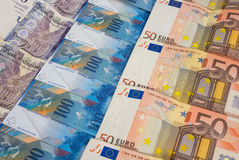 GBP EURO and CHF banknotes Stock Photo