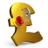 Gbp Key Shows Savings And Finance. Gbp Key Shows Banking Savings And Finance Royalty Free Stock Photo