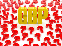 GBP sign surrounded by question marks. Stock Photo