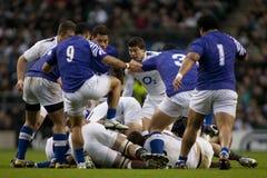 GBR :橄榄球联合英国对萨摩亚 图库摄影