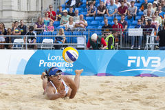 GBR: FIVB International London 12/08/2011. 12/08/2011 LONDON, ENGLAND,  Mayra Garcia (MEX) dives for the ball during the FIVB International Beach Volleyball Stock Photos