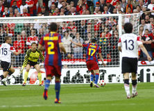 GBR: Football Champions League Final 2011. LONDON, ENGLAND. May 28 2011: Barcelona's midfielder Pedro Rodreguez scores the first goal during the 2011UEFA royalty free stock photography